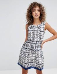 Zibi London Textured Midi Dress - Navy