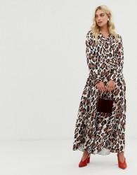 Zibi London V front leopard print midi dress - Multi
