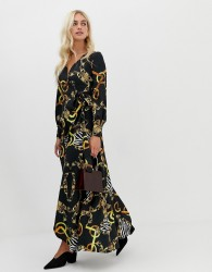 Zibi London wrap front chain patterned midi dress with slip detail - Black