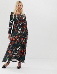 Zibi London wrap front long sleeve floral midi dress - Black