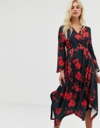 Zibi London wrap front midi dress with hanky hem - Multi
