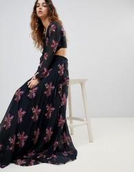 Zibi Maxi Thigh Split Cut Out Floral Maxi Dress - Multi