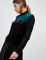 Zibi Pleated And Pearl High Neck Blouse - Black