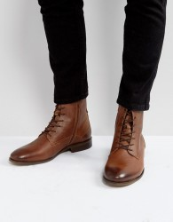 Zign Leather Boots In Tan - Brown