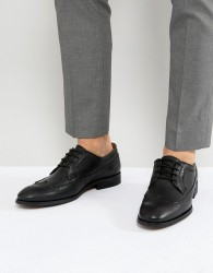 Zign Leather Brogue Lace Ups In Black - Black