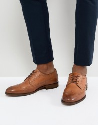 Zign Leather Brogue Lace Ups In Cognac - Brown