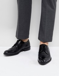 Zign Leather Brogue Shoes In Black - Black