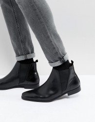 Zign Leather Chelsea Boots In Black - Black