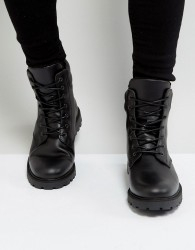Zign Leather Chunky Lace Up Boots - Black