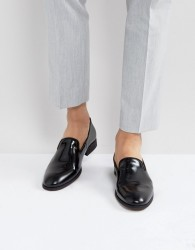 Zign Leather Hi-Shine Loafers - Black