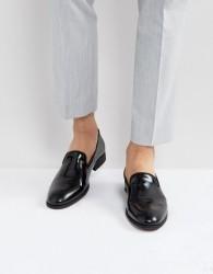 Zign Leather Hi-Shine Loafers - Black