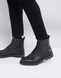 Zign Leather Lace Up Boots In Black - Black