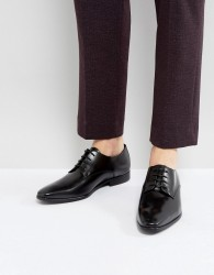 Zign Leather Lace Up Derby Shoes - Black