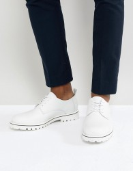 Zign Leather Lace Up Shoes In White - White