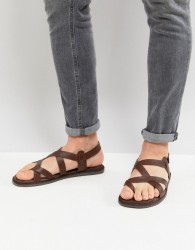 Zign Leather Sandals In Brown With Strap Detail - Brown