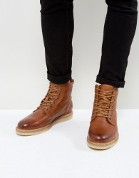 Zign Leather Smooth Lace Up Boots - Brown