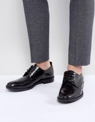 Zign Leather Studded Brogue Shoes - Black