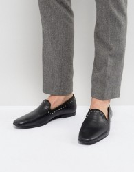 Zign Leather Studded Detail Loafers - Black