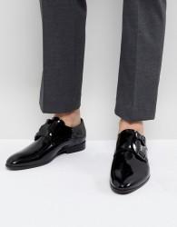 Zign Patent Monk Shoes In Black - Black