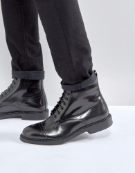 Zign Smart Leather Lace Up Boots - Black