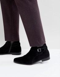 Zign Suede Buckle Boots - Black