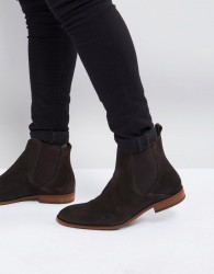 Zign Suede Chelsea Boots In Brown - Brown