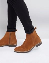 Zign Suede Chelsea Boots In Tan - Beige