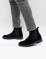 Zign Suede Chelsea Boots With Chunky Sole - Black