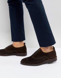 Zign Suede Derby Shoes In Brown - Brown