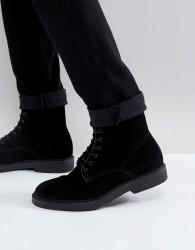 Zign Suede Lace Up Boots - Black