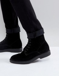 Zign Suede Lace Up Boots - Black