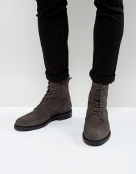 Zign Suede Lace Up Boots in Grey - Grey