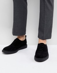 Zign Suede Lace Up Shoes In Black - Black