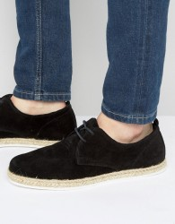 Zign Suede Lace Up Shoes With Espadrille Detail - Black