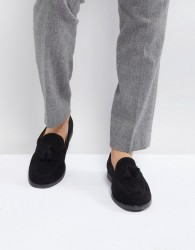 Zign Suede Tassel Loafers In Black - Black