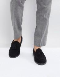 Zign Suede Tassel Loafers In Black - Black