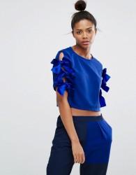 Ziztar Cinderella'S Magic Ribbon Top With Bow Sleeves - Blue