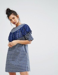 Ziztar Gingham Check Dress With Ruffle Detail - Blue