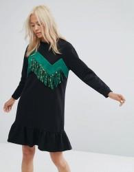 Ziztar Sweater Dress With Zigzag Tassles - Black