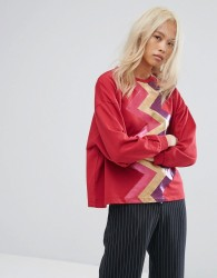 Ziztar Sweater With Zigzag Front - Red