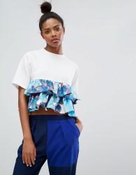 Ziztar Top With Peplum Ruffle In Bubble Print - White