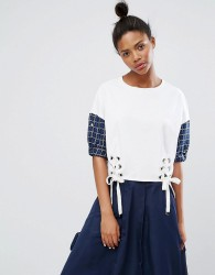 Ziztar Up At Midnight Lace Up Top Woth Contrast Sleeves - White