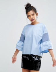 Ziztar You Are Unique Top With Fluted Sleeves - Blue