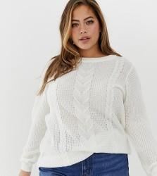 Zizzi cable knit jumper - Cream