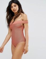 Zulu & Zephyr Ribbed Bardot Swimsuit - Pink