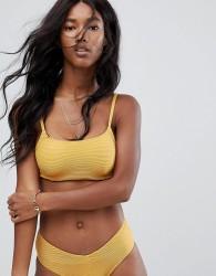 Zulu & Zephyr Ribbed Bralette Bikini Top - Yellow