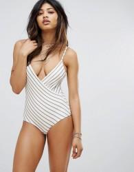 Zulu & Zephyr Stripe Wrap Front Swimsuit - Multi