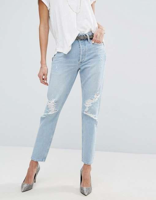 Priser på AGOLDE Jamie Hi Rise Straight Jean with Rips - Blue