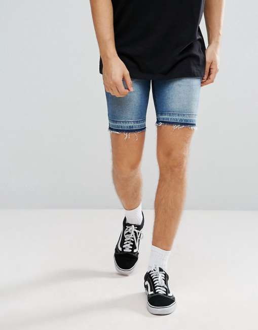 Priser på ASOS Denim Shorts In Skinny Mid Wash Blue With Cut And Sew Detail - Blue