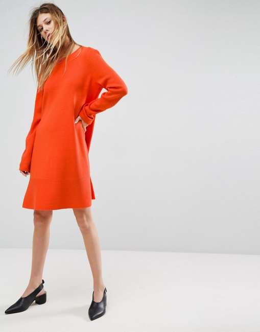 Priser på ASOS Knitted Dress with Frill Hem - Orange